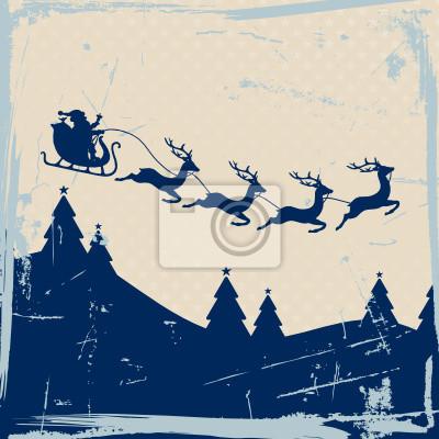 Plakat Boże Narodzenie sanie 4 Latający Reindeers Niebieski Retro beżowym tle