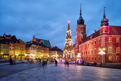 Plakat Boże Narodzenie w Starym Mieście w Warszawie w Polsce