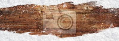 Plakat Bożenarodzeniowy sztandaru drewna tło z śniegiem