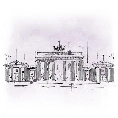 Plakat Brama Brandenburska, łuk triumfalny z Berlina