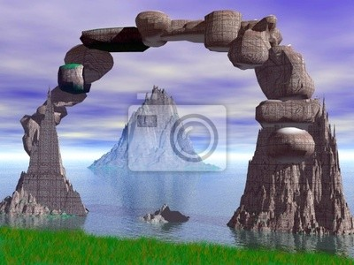 Plakat bramy w oceanie 3d