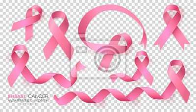 Plakat Breast Cancer Awareness Month. Pink Color Ribbon Isolated On Transparent Background. Vector Design Template For Poster.