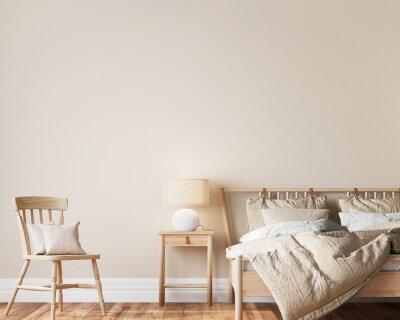 Plakat Bright beige wooden bedroom design, minimal modern style, 3d render