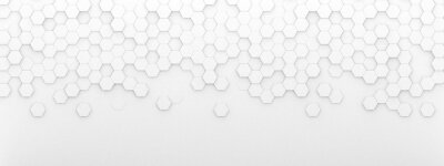 Plakat Bright white abstract hexagon wallpaper or background - 3d render