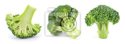 Plakat Broccoli isolated. Broccoli on white. Set of fresh broccoli.