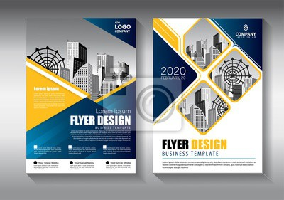 Plakat Brochure design, cover modern layout, annual report, poster, flyer in A4 with colorful triangles, geometric shapes for tech, science, market with light background