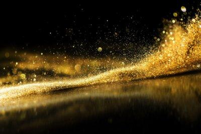 Plakat brokat światła tło grunge, złoty brokat niewyraźne streszczenie Twinkly Lights tło.