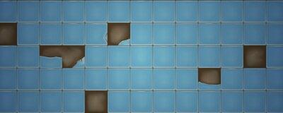 Plakat Broken blue retro wall ceramic tiles texture. Vector illustration.