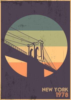 Plakat Brooklyn Bridge 1978 Poster, Symbol of New York, Vintage Colors, Grunge Texture