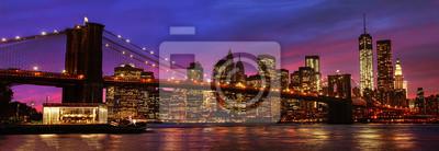 Plakat Brooklyn Bridge and Manhattan at sunset