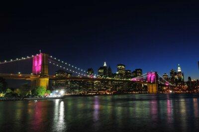 Plakat Brooklyn Bridge i dolnym Manhattanie