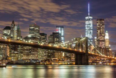 Plakat Brooklyn Bridge i Śródmieście Wieżowce w Nowym Jorku na zmierzchu