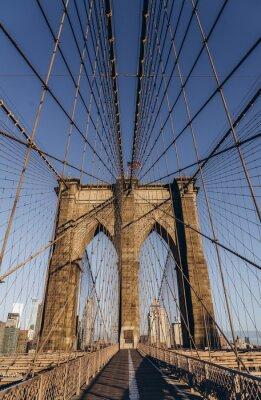 Plakat Brooklyn bridge in New York City. Brooklyn bridge details. Close up look.
