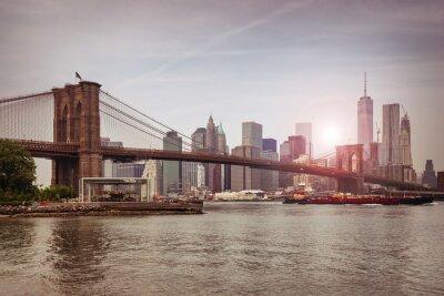 Plakat Brooklyn Bridge na zmierzchu, New York City