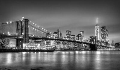 Plakat Brooklyn Bridge na zmierzchu, New York City.