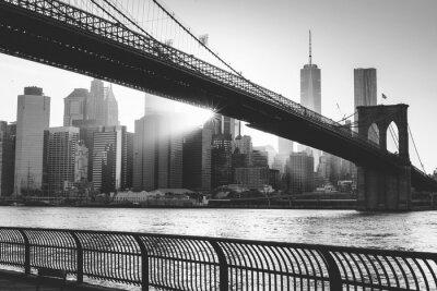 Plakat Brooklyn Bridge o zachodzie słońca