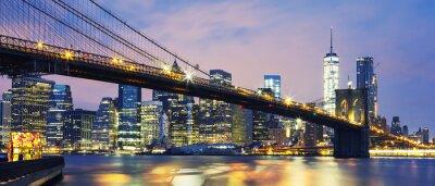 Plakat Brooklyn Bridge o zmierzchu