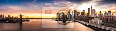 Plakat Brooklyn Bridge panorama o zachodzie słońca