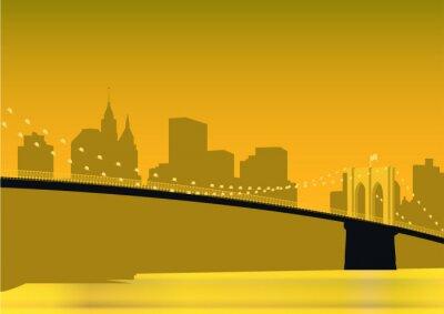 Plakat Brooklyn Bridge panorama over East River in New York City