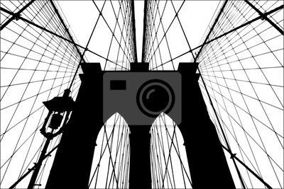 Plakat Brooklyn Bridge sylwetka ilustracji wektorowych.