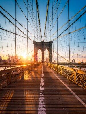 Plakat Brooklyn Bridge w Nowym Jorku im Sonnenlicht