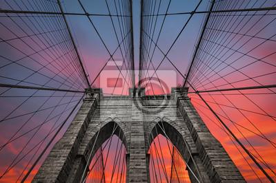 Plakat Brooklyn Bridge w Nowym Jorku, USA