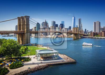 Plakat Brooklyn Bridge w Nowym Jorku - widok z lotu ptaka