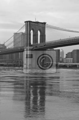 Plakat Brooklyn Bridge w zimie, Nowy Jork, USA.