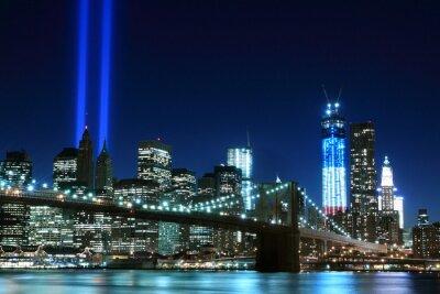 Plakat Brooklyn Brigde i wież świateł, New York City