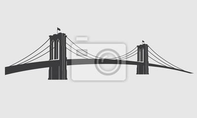 Plakat Brooklyn_grey3. Nowy Jork symbol - Brooklyn Bridge - ilustracji wektorowych