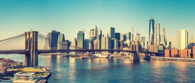 Plakat Brooklyn most i Manhattan w słoneczny dzień, Nowy Jork
