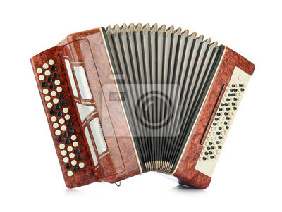 Plakat Brown accordion isolated on white background. File contains a path to isolation