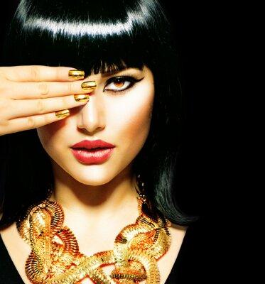 Plakat Brunetka Egyptian Woman.Golden Akcesoria