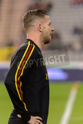 Plakat BRUSSELS - NOV 15, 2018: Toby Alderweireld 2 portrait. Belgium - Iceland. UEFA Nations League.