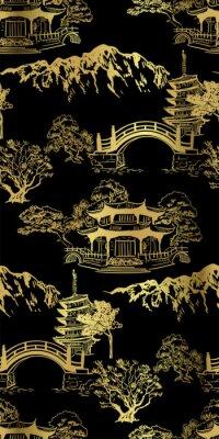Plakat Buddhism temple card nature landscape view landscape card vector sketch illustration japanese chinese oriental line art seamless pattern black gold