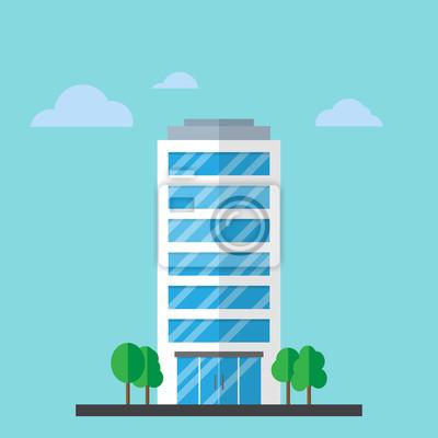 Plakat Budynek firmy w stylu płaskim