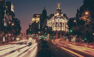 Plakat Budynek Metropolis w nocy, Madryt.
