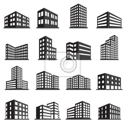 Plakat Budynki i biura ikony zestaw ikon
