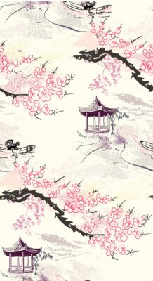 Plakat building landscape nature landscape view vector sketch illustration japanese chinese oriental line art ink seamless pattern
