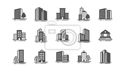 Plakat Buildings icons. Bank, Hotel, Courthouse. City, Real estate, Architecture buildings icons. Hospital, town house, museum. Urban architecture, city skyscraper. Classic set. Quality set. Vector
