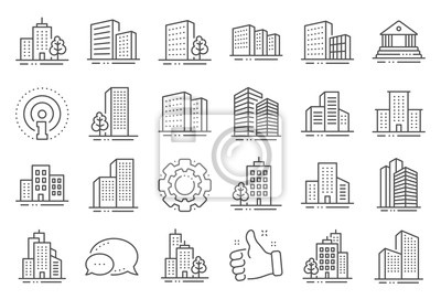 Plakat Buildings line icons. Bank, Hotel, Courthouse. City, Real estate, Architecture buildings icons. Hospital, town house, museum. Urban architecture, city skyscraper, downtown. Line signs set. Vector