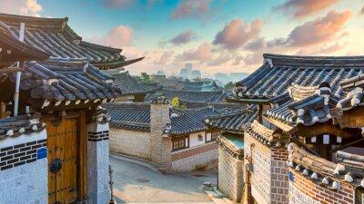 Plakat Bukchon Hanok Village in Seoul City, Traditional Korean style ancient architecture building, Seoul, South Korea.
