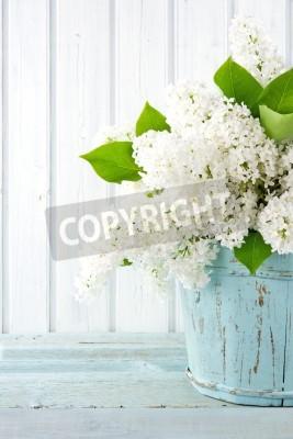 Plakat Bukiet wiosennych kwiatów białego bzu w drewnianym niebieskim Wazon na światło tle shabby chic