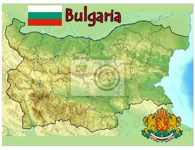 Karta Na Bulgaria.Plakat Bulgaria Europa Flaga Godlo Mapa Na Wymiar Flaga Czerwony