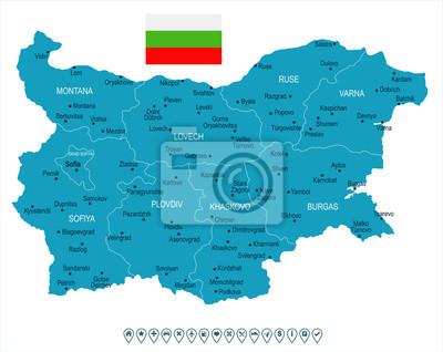 Plakat Bułgaria - mapa i flaga - Szczegółowa Wektorowa ilustracja