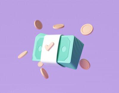 Plakat Bundles cash and floating coins around on purple background. money-saving, cashless society concept. 3d render illustration