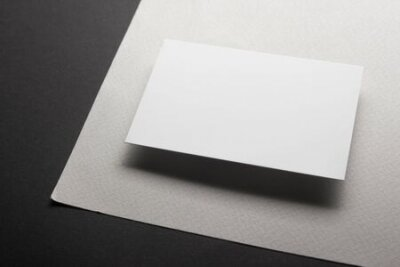 Plakat Business cards blank. Mockup on color background. Flat Lay. copy space for text.