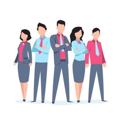 Plakat Business characters team work. Office people corporate employee cartoon teamwork communication. Flat business team vector illustration