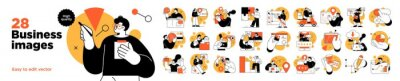 Plakat Business Concept illustrations. Mega set. Collection of scenes with men and women taking part in business activities. Vector illustration