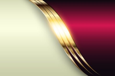 Plakat Business elegant background, gold metallic with dark purple pink color, 3D vector illustration.